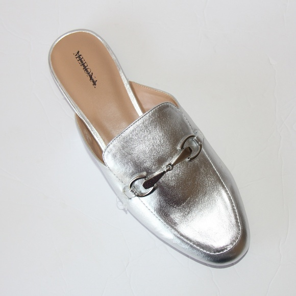 ff222cabfb1 Merona Silver Mules Loafers flats Sz 9